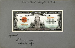 Francisco Vicente Aguilera - Image: US BEP República de Cuba (progress proof) 100 silver pesos, 1936 (CUB 74b)