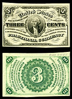 Three-cent third-issue fractional note