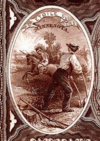 Minnesota Devlet Arması Ulusal Banknot Serisi 1882BB ters
