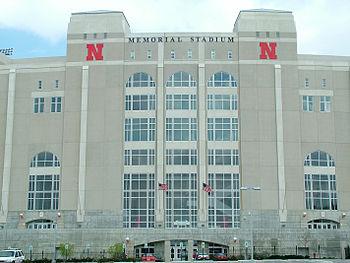 Outside of Memorial Stadium on the University ...