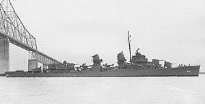 USS Albert W. Grant (DD-649) passes under the John P. Grace Memorial Bridge, South Carolina (USA), on 11 December 1943 (19-N-55226)