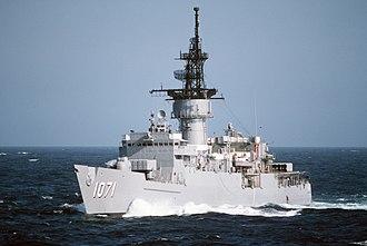 USS Badger (FF-1071) - Badger on a midshipmen's summer training cruise in 1986.