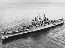 USS Biloxi (CL-80) underway at sea, circa October 1943 (NH 98263).jpg