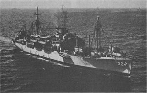 USS Calvert (APA-32) underway, circa in the 1950s (1396381825360)