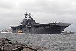 USS Iwo Jima departs Naval Station Mayport in preparation of Hurricane Matthew's arrival. (30116294096).jpg