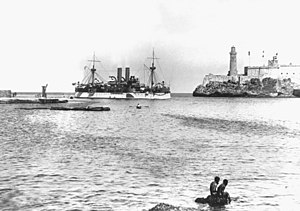 "USS ""Maine"" entering Havana Harbor on 25 January 1898, where the ship would explode three weeks later"