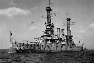 USS New Jersey (BB-16) - Image: USS New Jersey (BB 16) in camouflage coat, 1918 edit