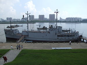 The USS Pueblo as a museum in Pyongyang, North Korea after its capture