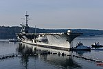 USS Ranger (CV-61) is towed from Bremerton for scrapping in March 2015.JPG