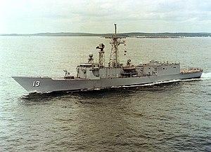 USS Samuel Eliot Morison (FFG-13) underway during sea trials on 10 June 1980