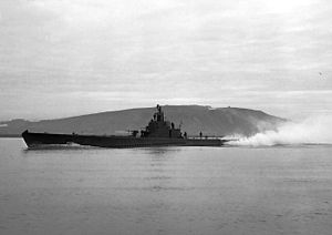 Seawolf (SS-197) underway off the Mare Island Navy Yard, California, 7 March 1943