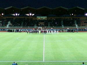 US Créteil-Lusitanos - Créteil and Bordeaux lining up at the Stade Dominique Duvauchelle in 2012