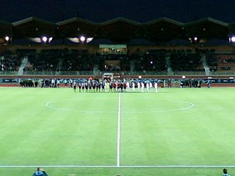 US Créteil-Lusitanos - Créteil and Bordeaux lining up at the Stade Dominique Duvauchelle in 2012