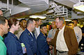 US Navy 020827-N-1058W-447 Former U.S. President George H. W. Bush meets with Sailors while touring Truman's award-winning Mess Decks.jpg