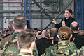 US Navy 031217-N-5821W-003 Master Chief Petty Officer of the Navy (MCPON) Terry D. Scott answers various questions at an all hands call in Hangar 407 at Naval Air Station Sigonella, Sicily.jpg
