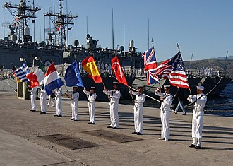 Colour guard - A colour guard detachment during the opening ceremony for the North Atlantic Council and Military Committee SEA Day Exercise.