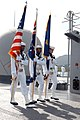 US Navy 050526-N-4702D-029 The color guard aboard the Seventh Fleet command ship USS Blue Ridge (LCC 19), parade the colors on the main deck as the ship pulls into Cairns, Australia.jpg