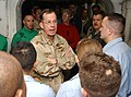 US Navy 060104-N-7241L-006 Chief of Naval Operations (CNO), Adm. Mike Mullen, talks to crew members during a visit to the Nimitz-class aircraft carrier USS Theodore Roosevelt (CVN 71).jpg