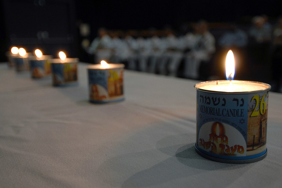 US Navy 070426-N-4965F-003 Six memorial candles are lit during a Holocaust Remembrance Day ceremony at Sharkey Theater on board Naval Station Pearl Harbor