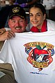 US Navy 070525-N-2984R-010 The Executive Officer for the amphibious assault ship USS Wasp (LHD 1) Capt. Daniel H. Fillion displays a t-shirt given to him by Blood Drive Leader Michelle Lenzalone.jpg