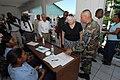 US Navy 070902-N-8704K-059 U.S. Ambassador to Haiti Janet Sanderson is guided by Senior Master Sgt. Steven Foster on a tour of Hopital De L'universite D'etat D'Haiti, where Military Sealift Command hospital ship USNS Comfort (T.jpg