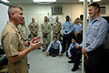 US Navy 090629-N-9818V-151 Master Chief Petty Officer of the Navy (MCPON) Rick West takes questions from Sailors assigned to the mine countermeasures ship USS Avenger (MCM-1) during his visit to U.S. Fleet Activities Sasebo.jpg