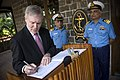 US Navy 091127-N-5549O-088 Secretary of the Navy (SECNAV) the Honorable Ray Mabus signs a guest book at Naval Dockyard Mumbai and western Naval Command.jpg