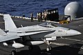 US Navy 111224-N-YB753-029 An F-A-18C Hornet assigned to the Vigilantes of Strike Fighter Squadron (VFA) 151 lands on the flight deck of the aircra.jpg