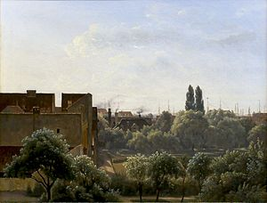 Royal Mint (Denmark) - The Royal Mint and the Botanical Garden painted by Vilhelm Kyhn from a window in Charlottenborg in 1862