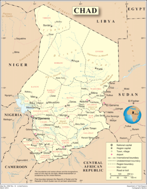 Geography of Chad - A map of Chad