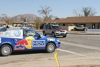 DARPA Grand Challenge - Stanford Racing and Victor Tango together at an intersection in the DARPA Urban Challenge Finals.