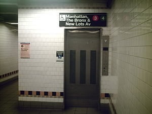 Crown Heights–Utica Avenue (IRT Eastern Parkway Line) - Elevator to platforms