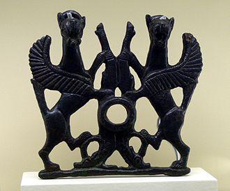 Griffin - Bronze griffins from ancient Luristan, Iran, 1st millennium BC. Vorderasiatisches Museum Berlin