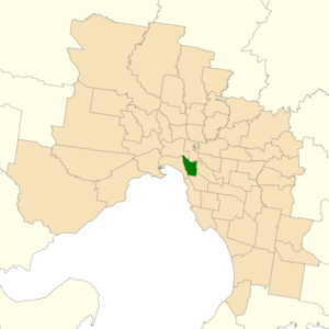 Electoral district of Prahran - Location of Prahran (dark green) in Greater Melbourne