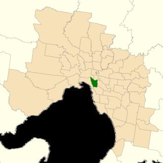 Electoral district of Prahran - Location of Prahran (dark green) in Greater Melbourne