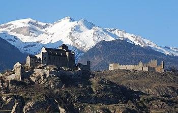 Valère et Tourbillon à Sion en Valais Suisse.JPG