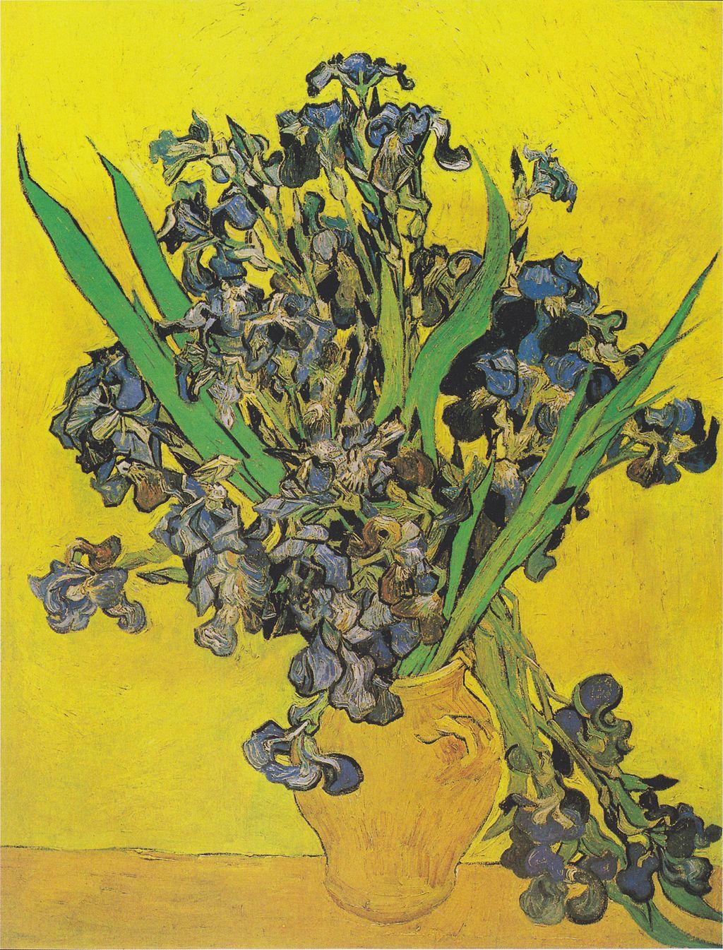 Van Gogh - Vase mit Iris vor gelbem Hintergrund