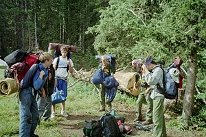 Varsity Scouting (Boy Scouts of America) - Varsity Scouts about to go backpacking