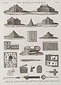 Vases, meubles et instrumens. 1-7. Tentes de mamlouk; 8. Boiserie de fenêtre; 8. Berceau; 10. Chassemouche; 11.12. Planchers en mosaïque; 13.14. Carreaux en fayence; 15.16. Coffret en nacre; (NYPL b14212718-1268866).jpg