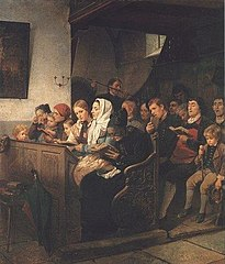 Village church with worshipers