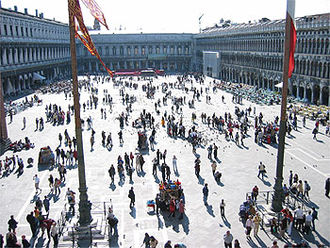 Procuratie - St Mark's Square showing the Procuratie Nuove on the left, the Napoleonic Wing ahead and the Procuratie Vecchie to the right.