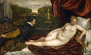 Venus and Musician - Venus and Musician or Venus with an Organist and a Dog, Prado, c. 1550