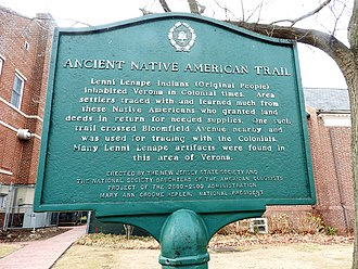 Verona, New Jersey - Lenape Trail sign
