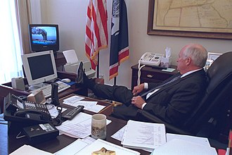 Social aspects of television - U.S. former Vice President Dick Cheney watching television on 9/11