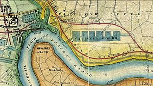 Bow Creek (London) - Map c1872, showing Victoria Docks, now Royal Victoria Dock, Bow Creek and the Thames Ironworks and Shipbuilding Company