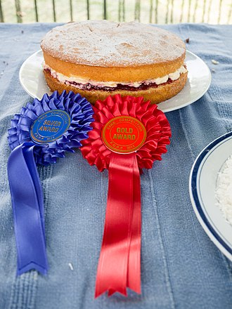 Sponge cake - Award winning Victoria sponge from Ruskin Park fête, 2014. The sponge cake has been featured in The Great British Bake Off television series.