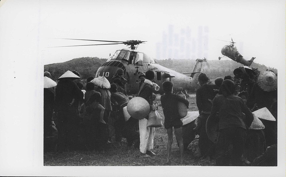 Vietnamese Civilians Board UH-34 Sea Horse Helicopters, 1969 (14915303031)
