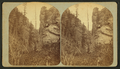 View of a person sitting on a large rock in the mountains, from Robert N. Dennis collection of stereoscopic views.png