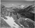 "View of barren mountains with snow, ""Long's Peak, Rocky Mountain National Park,"" Colorado., 1933 - 1942 - NARA - 519966.tif"