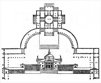 Villa Trissino (Meledo di Sarego) - Projected Villa Trissino at Meledo (Sarego): woodcut from I quattro libri dell'architettura by Palladio (1570).